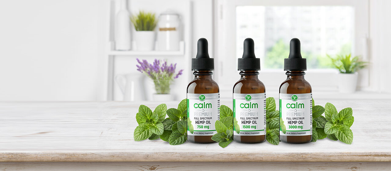 3 Concentrations of Calm Premium Hemp Oil in Glass Bottles